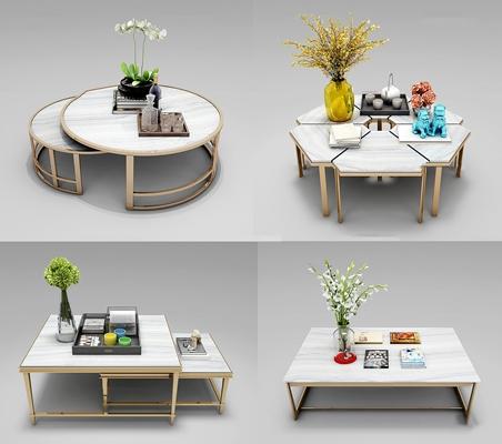 现代金属茶几花卉摆件组合3d模型【ID:97171164】