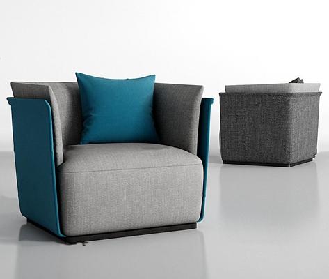 现代布艺单人沙发组合3D模型【ID:97171966】