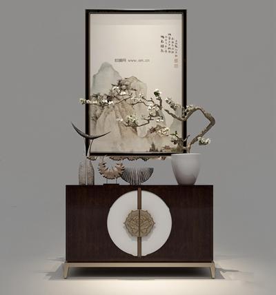 新中式实木端景柜装饰画摆件组合3D模型【ID:97172015】