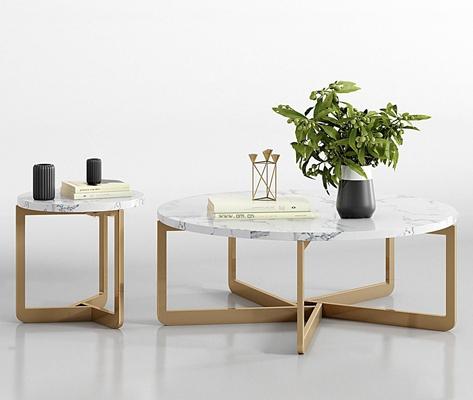 现代金属大理石茶几花瓶组合3D模型【ID:97172265】
