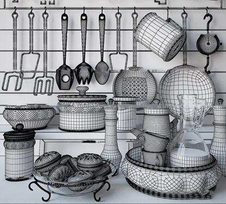 现代陶瓷餐具食品组合3D模型【ID:97172935】