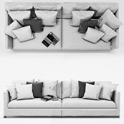 现代布艺双人沙发3d模型【ID:97173874】