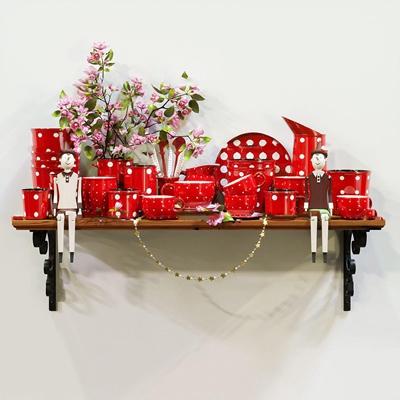 现代陶瓷水杯碗碟人偶组合3D模型【ID:97174232】