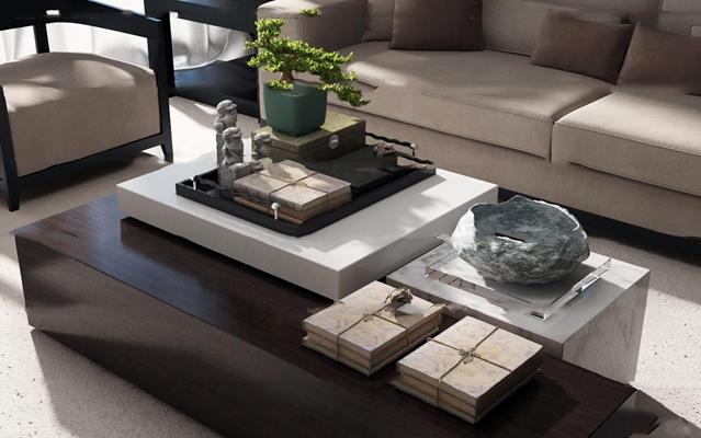 现代沙发茶几摆件组合3D模型【ID:97174764】