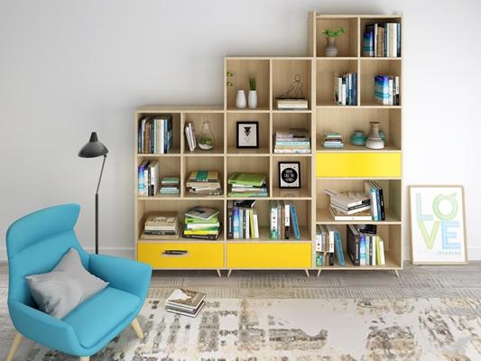 北欧书柜沙发椅摆件组合3d模型【ID:97175153】