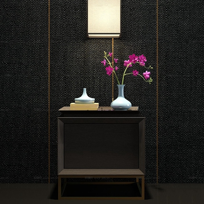 新中式实木床头柜兰花饰品组合3D模型【ID:97175361】