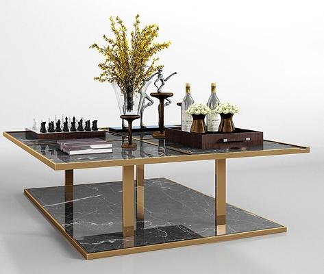 现代金属大理石茶几摆件组合3D模型【ID:97176063】