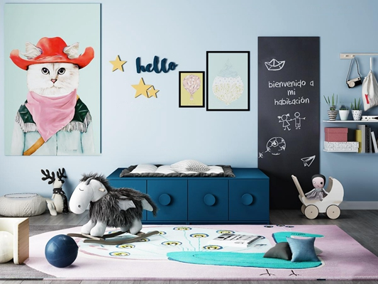 北欧儿童柜玩具摆件组合3d模型【ID:97176523】