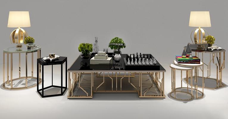 现代金属茶几圆几角几台灯摆件组合3D模型【ID:97176861】