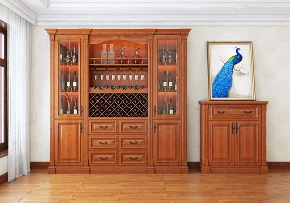 美式实木酒柜端景柜酒水装饰画组合3D模型【ID:919706008】