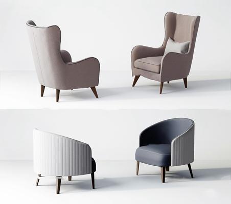 现代布艺单人沙发组合3D模型【ID:97177162】