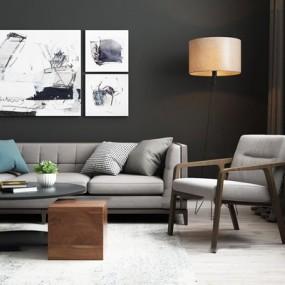 北欧沙发茶几单椅组合3D模型【ID:97177294】