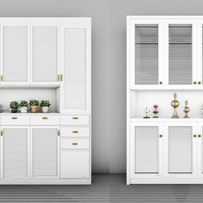 现代实木鞋柜摆件组合3D模型【ID:97178031】