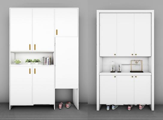 现代实木鞋柜摆件组合3D模型【ID:97178032】