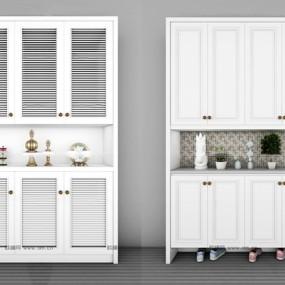 现代白色鞋柜摆件组合3D模型【ID:97178034】