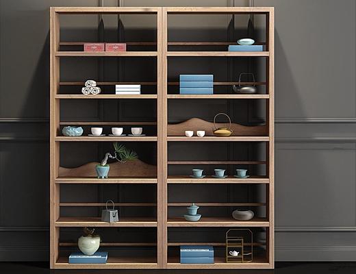 新中式实木装饰柜饰品摆件组合3D模型【ID:97178121】