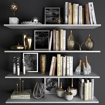 现代花瓶书籍金属摆件组合3D模型
