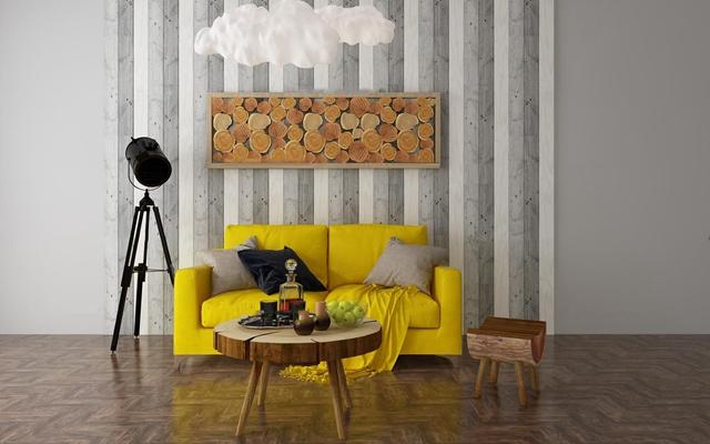 现代布艺双人沙发茶几组合3d模型【ID:97179770】