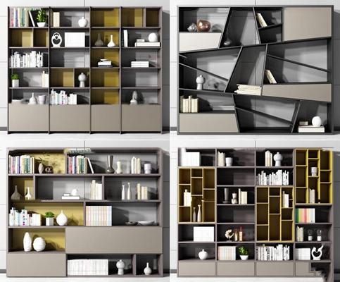 现代书柜装饰柜摆件组合3d模型【ID:97180958】