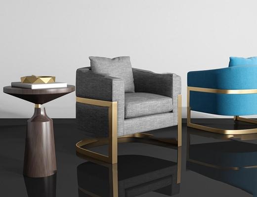 现代布艺单人沙发圆几组合3d模型【ID:97180965】