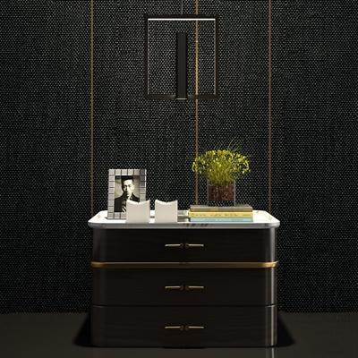 现代实木床头柜吊灯组合3D模型【ID:97181668】
