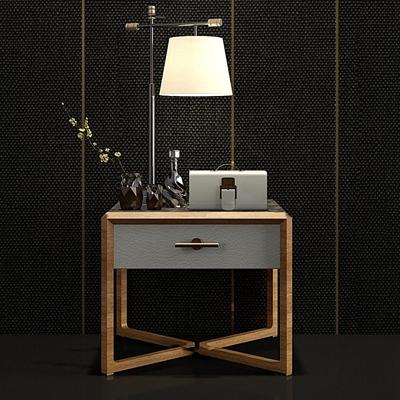 新中式实木床头柜摆件组合3d模型【ID:97183063】