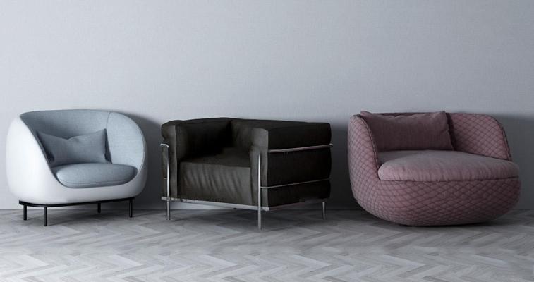 现代布艺单人沙发组合3D模型【ID:919707674】