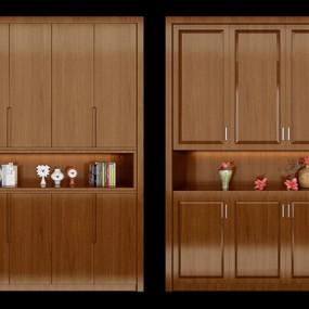 现代实木鞋柜花瓶组合3D模型【ID:97184436】