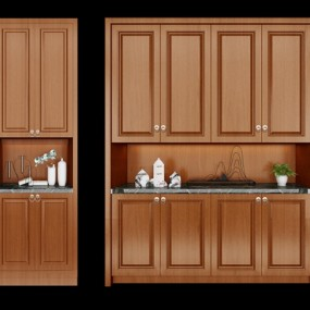 现代实木鞋柜花瓶组合3D模型【ID:97184734】