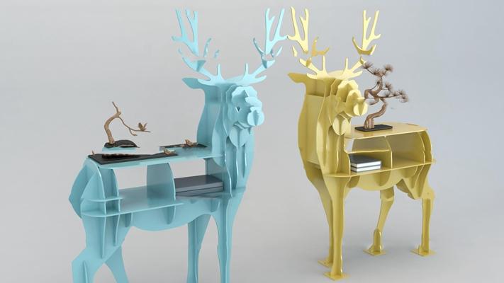 北欧小鹿积木装饰架3D模型【ID:97185023】