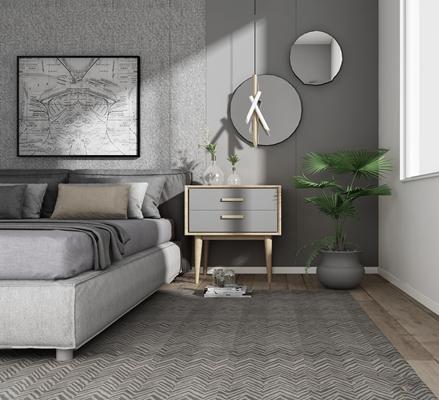 现代床头柜双人床小吊灯组合3D模型【ID:97185262】