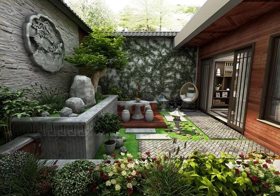 中式庭院花园阳台3D模型【ID:97188195】