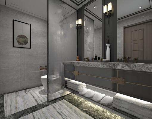 中式卫生间3D模型【ID:97188583】