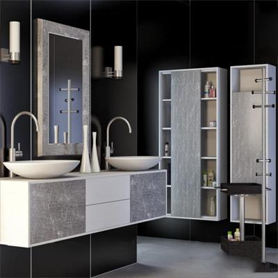 现代台盆卫浴柜架3D模型【ID:97188744】