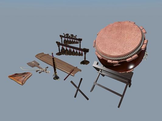 中式鼓编钟古琴古典乐器3D模型【ID:97189105】