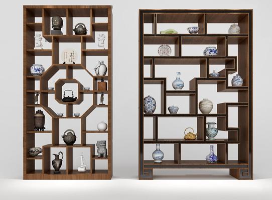 中式装饰柜架3D模型【ID:97189222】
