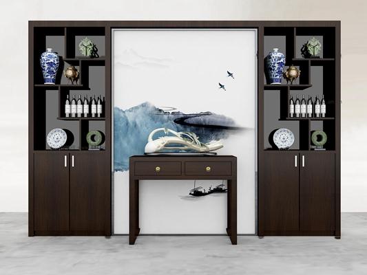 新中式酒柜3D模型【ID:97189304】