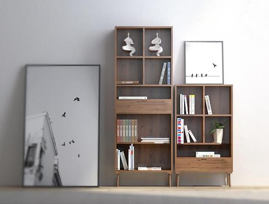现代实木书柜壁画组合3d模型【ID:97189551】