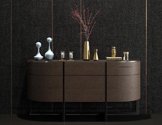 现代实木边柜饰品组合3D模型