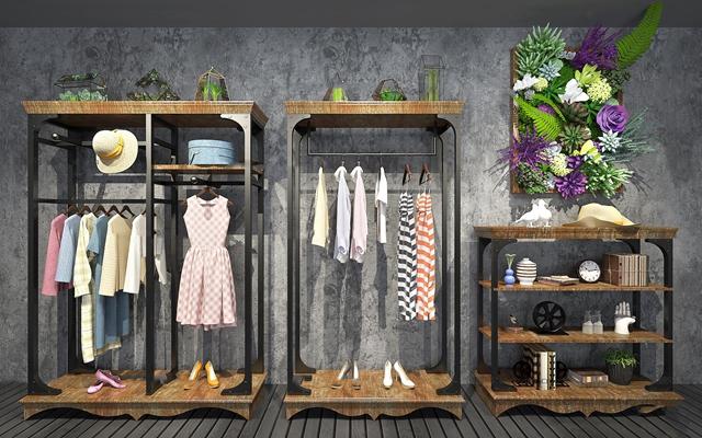现代衣架装饰柜组合3D模型【ID:97190927】