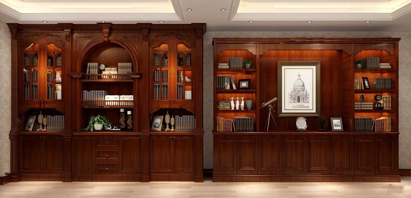 欧式实木雕花书柜书籍摆件组合3D模型【ID:97191550】