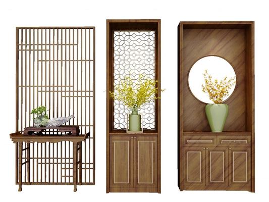 中式玄关端景柜花瓶盆景组合3D模型【ID:97192417】