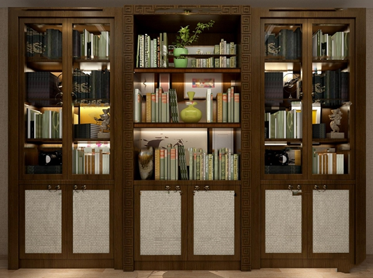 新中式书柜摆件3D模型【ID:97192953】