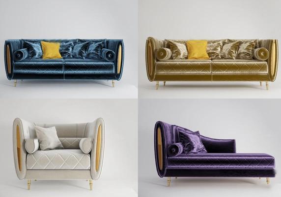 后现代绒布双人沙发贵妃椅组合3D模型【ID:97193470】