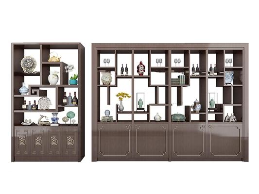 中式实木装饰架摆件组合3d模型【ID:97197228】