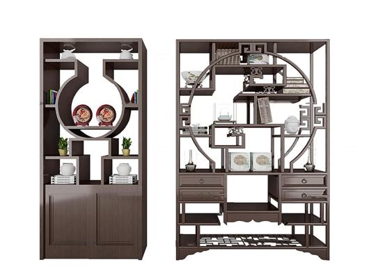 中式实木博古架装饰架摆件组合3D模型【ID:97197322】