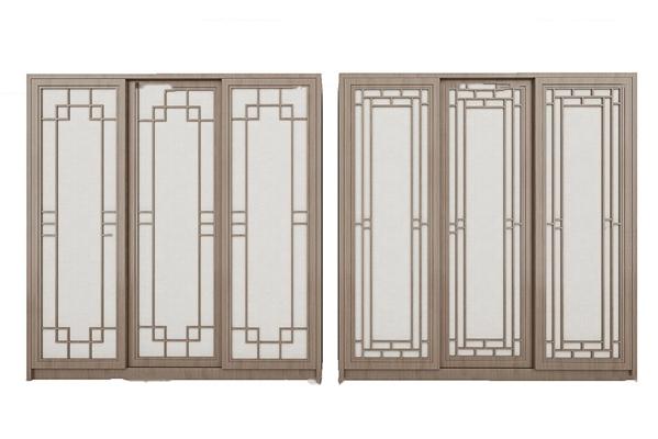 中式实木推拉门衣柜组合3D模型【ID:97197499】
