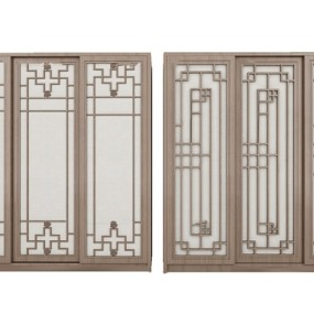 中式实木推拉门衣柜组合3D模型【ID:97197592】