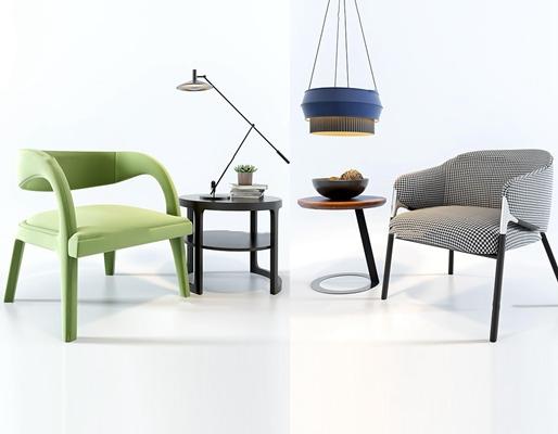 现代单人沙发茶几组合3d模型【ID:97197663】