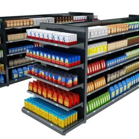 现代零食超市货架组合3D模型【ID:97197929】